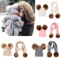 Wholesale boy scarfs beanies resale online - Baby Knit Hat And Scarf Sets Kids Winter Warm Fur Pom Hat Solid Beanie Ski Cap Scarf Kit Xmas Party Hats JJ19903