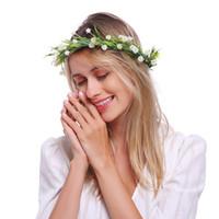 analık baş bantları toptan satış-Ayarlanabilir Çiçek Taç Taze BOHO bantlar kadınlar kızlar için düğün parti festivali analık aile resimleri Tiny çiçekler Beyaz Pemb ...