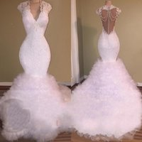 Wholesale quality mermaid wedding dresses for sale - Group buy african wedding dresses Real Picture Sexy Deep V Neck Sleeveless Illusion Back Tiered Train White High Quality Bridal Gowns