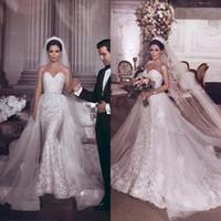 Wholesale sweetheart wedding dress custom made for sale - Elegant Mermaid Wedding Dresses Detachable Train Sweetheart Sweep Train Appliques Lace Bead Garden Bridal Gowns