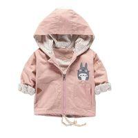 çocuklar pembe ilkbahar paltosu toptan satış-Moda Erkek Bebek Giysileri Totoro Karikatür Ceket Bahar Pembe Kapşonlu Coat Çocuk Spor Giyim Noel Yürüyor Çocuk Giyim J190509