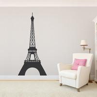 fondo de pantalla eiffel al por mayor-Torre Eiffel pared arte de la etiqueta engomada del vinilo de París del viaje del francés Dormitorio Sala de decoración de interior accesorios para el hogar del papel pintado