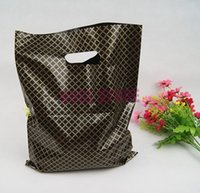 Wholesale plastic boutique gift bag for sale - Group buy 100pcs x35cm Black Plaid Large Plastic Shopping Bags Thick Boutique Gift Clothing Packaging Plastic Gift Bag With Handle
