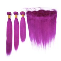 Wholesale purple color hair weave for sale - Group buy Malaysian Human Hair Purple Color Straight Weave Bundles with Frontal Purple Virgin Hair Wefts with x4 Lace Frontal Closure