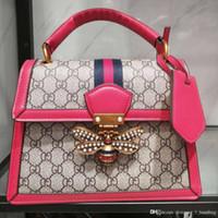 кожаный мешок оптовых-Дизайнерская сумка 2019 модной пчелы женская сумка холст + кожаная сумка цепочка роскошная сумка
