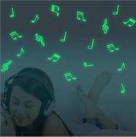 brilho da nota venda por atacado-15 pçs / saco Notas Musicais Brilham No Escuro Fluorescente Luminosa Início Adesivos de Parede Decal Home Decoração Do Quarto