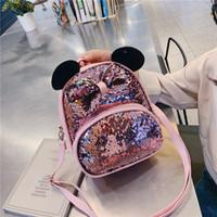 cartoon clear mochilas venda por atacado-Xiniu mini mochila rosa Dos Desenhos Animados Sequin Bow Crossbody Bag Satchel Mochila Escolar Viagem bonito mochilas claras mochila 7 # 3a1