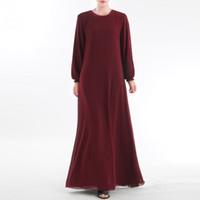 свадебные платья оптовых-2019 Muslim Clothes S- 2XL Long Muslim Women Wear On Both Sides Dubai Abaya Maxi Dresses Islamic Clothing Lover Gift Drop #0426