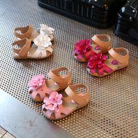 Wholesale children fashion sandals shoes resale online - New Baby girls flowers sandals summer Fashion Kids Slippers children Sandy beach shoes colors C5994