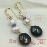 Wholesale 16mm black pearl resale online - 15 mm baroque pearl earringsGolden hook black and white earbob TwoPin woman dangler classic wedding party Jewelry natural chic
