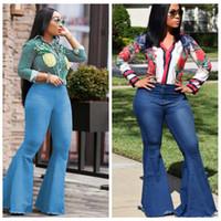 bürohose für damen großhandel-Frauen-Aufflackern-Jeans keucht dünnes reizvolles beiläufiges Weinlese Bootcut weites Bein ausgestellte Jeans-Büro-Dame Bell Bottoms Denim Pants LJJA2583