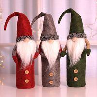 decoraciones de mesa de navidad al por mayor-Decoración de la cubierta de la botella de vino de navidad Santa Claus Muñeco de nieve Cubierta de la botella de ciervos Ropa Decoración de la cocina para la cena de Navidad Suministros de mesa WX9-1137