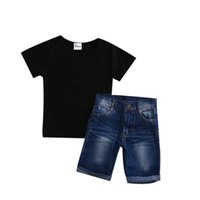 Wholesale cool baby clothes suits for sale - Group buy 2019 Canis Summer Cool Infant Baby Boy Clothes Clothes Kids Boys Clothing Suits Outfits Black T shirt Denim Shorts Pants Set