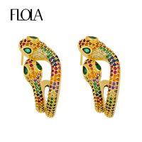 Wholesale plastic crosses for jewelry resale online - FLOLA Good Filled Double Snake Earrings For Women Rainbow Zirconia Drop Earrings Rainbow Jewelry pendiente serpiente moda erss31
