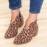 botas tacones vestido al por mayor-Zapatos de mujer 2019 Leopardo Sexy Botas de tobillo del dedo del pie acentuados Slip on Deep V High Heel Lady Party Dress Shoes