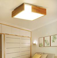 sala de estudio de madera al por mayor-Montaje en superficie Lámparas de techo Estilo nórdico Luz de sala de madera Creativo japonés Estudio estudio Lámparas led luminaria teto - I126