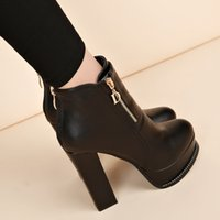 высокие сапоги европы оптовых-2019 spring new Europe and America fashion  boots high heel short boots crude with high heels wild women's ankle