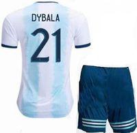 kun aguero niños camiseta al por mayor-Niños 2019/2020 Argentina MESSI HIGUAIN KUN AGUERO DYBALA camiseta de fútbol de fútbol de calidad de Tailandia kit de camiseta camiseta de fútbol de jugador