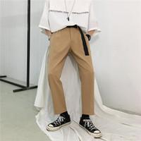 costume kaki noir pour hommes achat en gros de-Hommes Vintage D'été Noir Khaki Casual Pantalon Mâle Streetwear Hip Hop Droite Harem Pantalon Femme Costume Amoureux Des Pantalons Vêtements