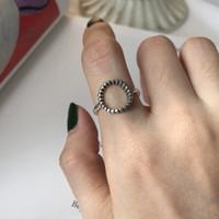 ingrosso anello stile giapponese-Stile coreano Giappone S925 argento perline Lady Art Jewelry misura regolabile Vintage cerchio vuoto Anelli di marca Semplici accessori per feste di geometria