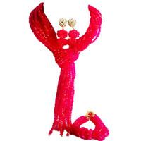 fuşya bilezik toptan satış-Sıcak Satış Fuşya Pembe Kristal Kadınlar Yıldönümü Boncuk Kolye Küpe Bilezik Setleri 10C-WJ-01