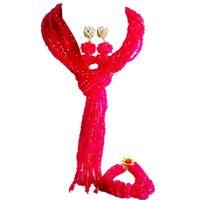 pulseira fúcsia venda por atacado-Venda quente Fuchsia Rosa de Cristal Mulheres Anniversary Beads Colar Brincos Pulseira Define 10C-WJ-01