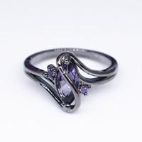 ingrosso le pietre nere squillano le donne-Gioielli di moda S Style Black Zircon Stone Anelli per dito Black Gold Filled Donna Uomo Wedding Party Promise Ring Bijoux
