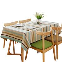 modernes outdoor-gewebe großhandel-Einfache moderne gestreifte Tischdecke literarische Wohnzimmer Couchtisch Stoff Hotel Tischdecke Rechteck Indoor Outdoor Camping Picknick Rectangu