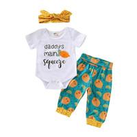 ingrosso le ragazze harem si adatta-Ins 2019 nuovi abiti neonato vestiti della neonata manica corta pagliaccetto + pantaloni harem + archi della fascia del progettista 3pcs bambino vestito infantile set A4199