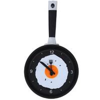 модные настенные подвески оптовых-Creative Pan Wall Clock Kitchen Living Room Hanging Clock New Style Home Decorative Fashion Digital Clocks