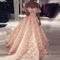 ingrosso abito di promenade increspato arrossisce-Stunning Blush Pink Una linea di pizzo Prom Dress Off spalla increspato Sweep treno abito formale Zipper Back Abito da sera robe de soiree