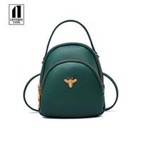 sevimli mini sırt çantaları toptan satış-Kısa Küçük Sırt İçin Genç Kızlar Kadınlar Sırt Çantası Bayan Omuz Çantaları Sevimli PU Deri Küçük Kadınlar Sırt Çantası Arı Okul çantası