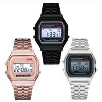 ingrosso orologi da polso unisex-Fashion F-91 W Donna Uomo Orologio LED Ultra-sottile oro argento Wristband Led Sport orologi Multifunzione metallo elettronico A159W F91W Watch