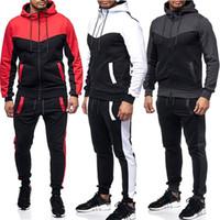 neue art und weiseklage dünne passform großhandel-Heiße neue Mode Männer Trainingsanzug Set Hoodies Sweatshirt Slim Fit Hosen Jogger Sportswear Anzug