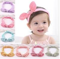 Wholesale new fashion girls photos resale online - Bow dot headband newborn boys girls rabbit ear cotton hair bands fashion lattice hair accessories photo props MMA1293