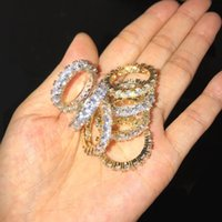 grandes anillos de circonio cúbico al por mayor-4MM Tamaño 6-12 1 fila de tenis Cadena Circle Big Baguette Cubic Zirconia anillo para hombres mujeres
