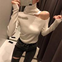sexy suéteres negros al por mayor-Jersey de punto suéter de los suéteres del hombro para mujer de manga larga de cuello alto Mujer Puente Negro Blanco Gris Sexy Ropa