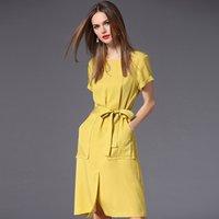 euro mode kleid großhandel-Für Mädchen Frühling-Sommer Damenkleid Euro-amerikanisches Mode-Kleid aus einfarbigem Stoff mit Taschen und Gürtel in kurzen Ärmeln