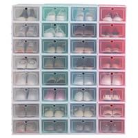 gabinete multifuncional al por mayor-6PCS / SET caja de zapatos zapatos gabinete multifuncional espesado y se volcó de zapatos Recepción de caja transparente del cajón del gabinete de almacenamiento MMA2579