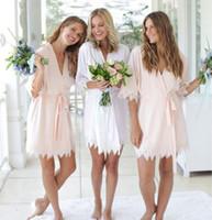 блестящий оптовых-Sexy Silk Satin Wedding Пижама Одеяние персонализированного Блеск для печати Короткого Халата невеста Кимоно Длинной Пижама Summer Night Lady Robe