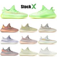 koyu mavi koşu ayakkabıları toptan satış-Kutu Erkekler Kadınlar mavi tonu Tasarımcı Ayakkabıları ile koyu statik yansıtıcı Kanye koşu Ayakkabı 2020 Bulut beyaz parlaklık US5-11