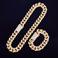 homem pesado corrente de ouro venda por atacado-Heavy cubic zirconia miami cubano cadeia com conjunto de colar de pulseira de prata de ouro 20mm big choker homens hip hop jóias 16