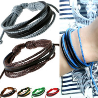Wholesale cool wrap bracelets for sale - Group buy Unisex Cool Beach Jewelry Hand woven Wrap Multilayer Leather Bracelet Adjustable Braided Colorful Rope Wristband Men Bangle Women Bracelet