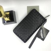 Wholesale styles pen phone for sale - Group buy New Arrival Desinger Luxury Long Zipper Men Leather Wallet Wrist Handbag Coin Bag Organizer Card Holder Black Color Pen Case