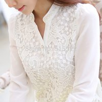 Wholesale white crochet cap for sale - Group buy New Arrival Women Lace Blouse Long Sleeve Beading Crochet White Chiffon Shirt Plus Size Loose Blusas b6 Q190507