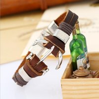 Wholesale bracelets anchor china resale online - Handmade Brown Cowhide Genuine Leather Rope Wrap Bangles Navy Style Fashion Anchor Button Charm Bracelets For Women Men Wedding Jewelry Gift