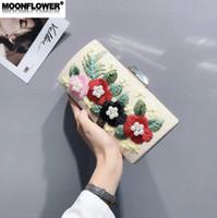 ingrosso fiore dolce duro-vendite borsa delle donne di marca dolce ricamo azienda cena borsa 3D fiore perla hard box catena sacchetto glassato lucido orizzontale tenuta a squadra