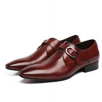 мужская формальная обувь оптовых-New Design  Genuine Leather Lace Up Modern Men Office Shoes Party Wedding Suit Formal Footwear Male Dress Shoes JS-A0066