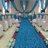 mavi arka planlar toptan satış-LGOLOL Yeni 1.45 mx3 / 6/9 m Uzunluk Saten 3D Dokuma Gül Çiçek Koridor Düğün Pisti Pad Dekorasyon Parti Düğün Perde Arka Plan