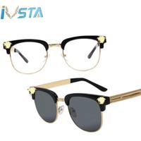 steampunk aynalı bardaklar toptan satış-Medusa Güneş Erkekler Yarım Jant Altın Güzellik Kafa UV400 Ayna Lensler Güneş Gözlükleri Kadınlar Marka Tasarımcısı Retro Moda Bağbozumu Steampunk